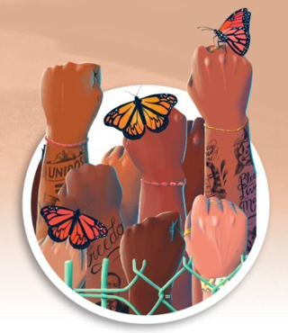 Several fists of people of color punching in the air with butterflies